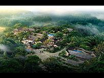 中式度假酒店生态景观效果图