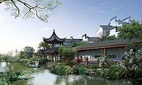 中式风格景观效果图