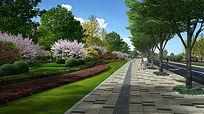 道路景观绿化效果图 PSD