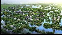 大型湿地度假山庄规划效果图