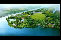 大型湿地公园鸟瞰图PSD素材 PSD