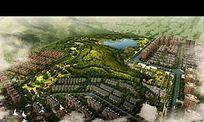 大型小区公园规划设计鸟瞰图