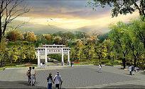 公园大门效果图PSD