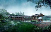 公园下雨天景观 PSD