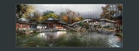 古典庭院水景效果图