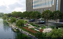 河道边绿化效果图