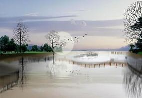 黄昏湖畔景色图