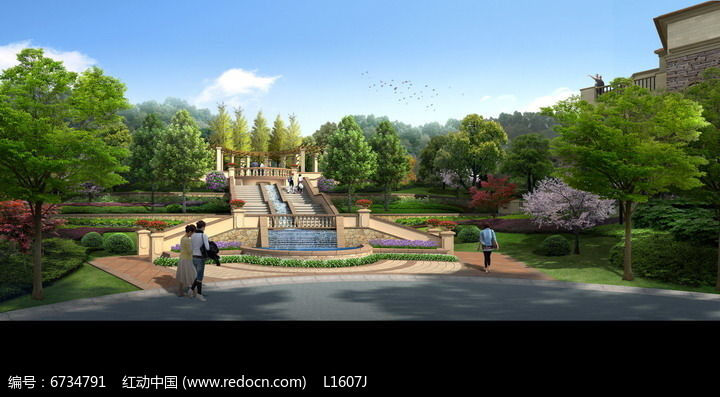 欧式景观风格公园入口效果图图片