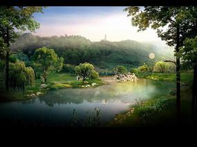 山体公园中的生态水景效果图