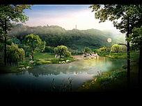 山体公园中的生态水景效果图 PSD
