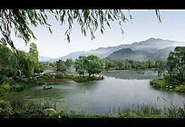 湿地公园生态效水景PSD效果图