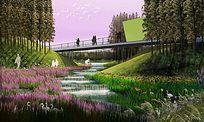 湿地景观设计PS素材效果图