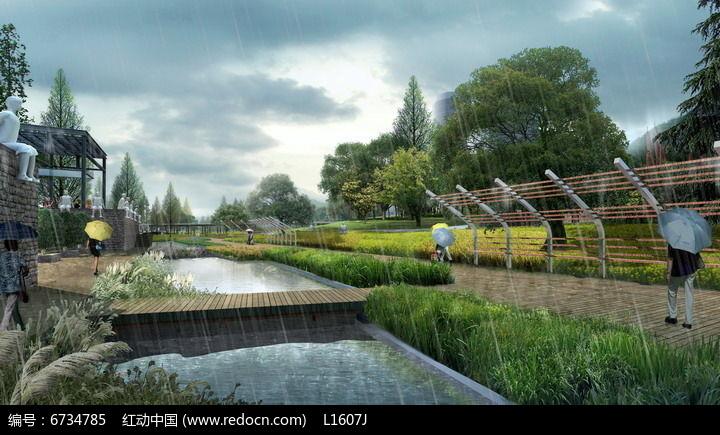 下雨天公园景观效果图图片
