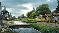 下雨天公园景观效果图