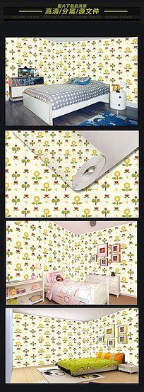 儿童房彩色花纹矢量无缝墙纸