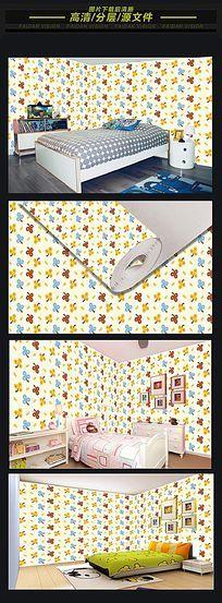 儿童房彩色花纹无缝墙纸