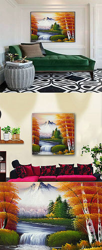 富士山风景油画