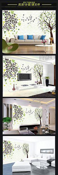 绿色梦幻风景大树电视背景墙