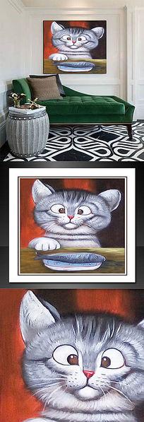 猫吃鱼油画
