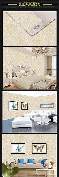 欧式大马士革图案壁纸墙纸