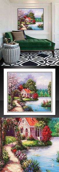 欧式花园别墅油画
