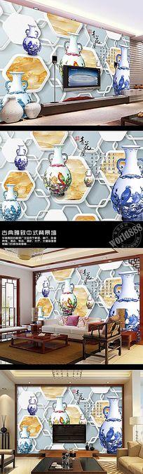 青花瓷大理石纹理立体多边形时尚中式背景墙