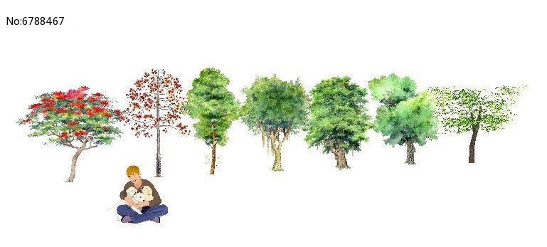 手绘叶子点状植物