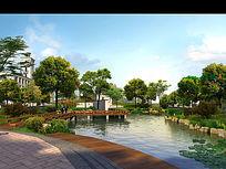 公园景观设计湖边效果图