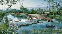 公园景观效果图PSD