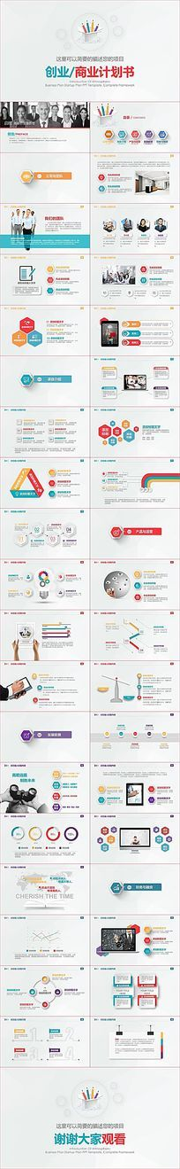 红色商业创业计划书营销策划书PPT模板