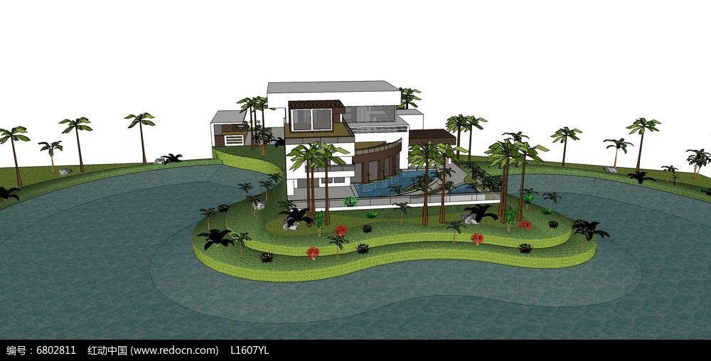 弧形水池现代别墅