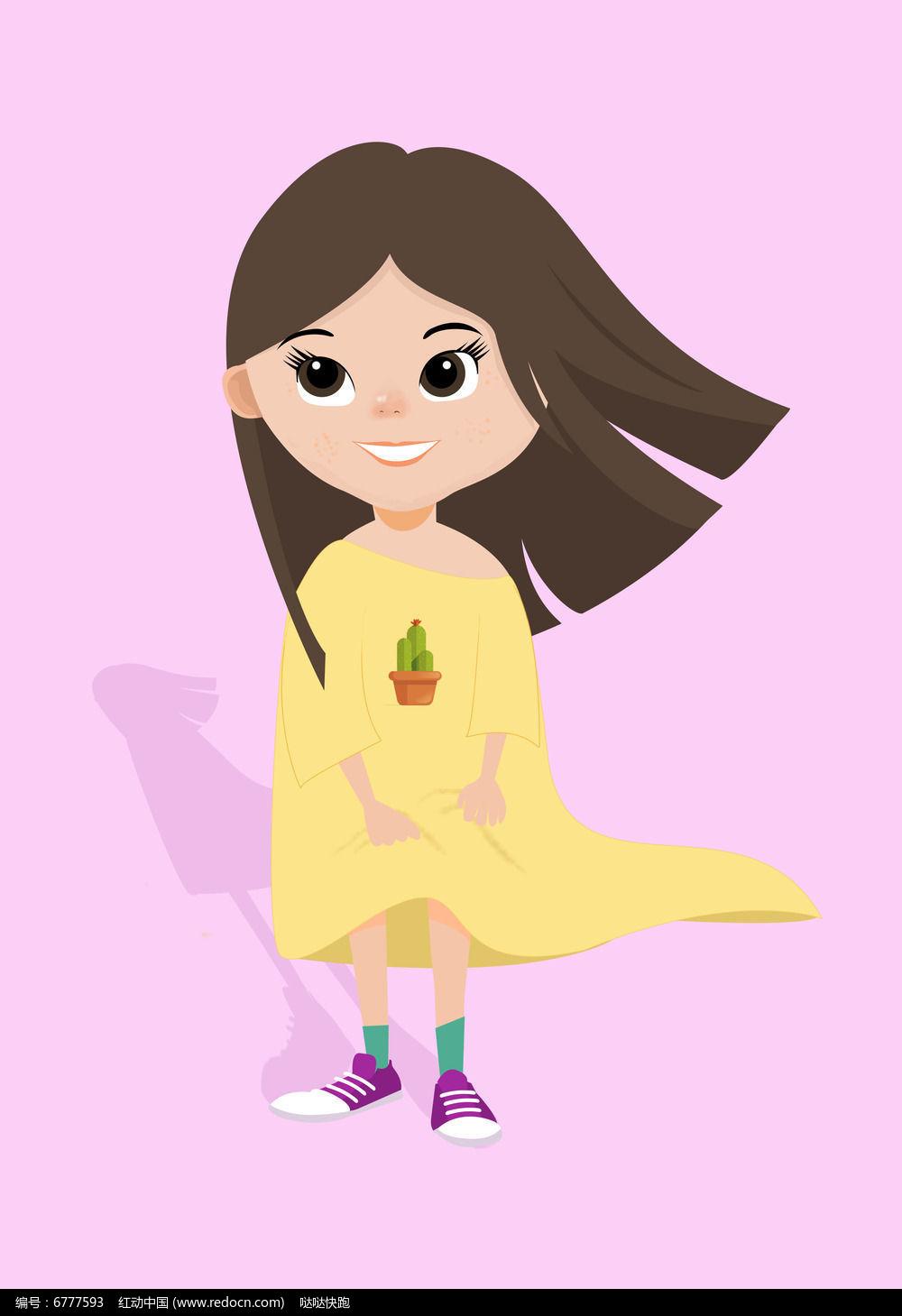 可爱女孩插画图片