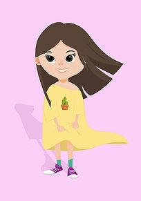 可爱女孩插画