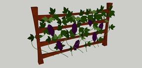 木架子上的葡萄植物SU模型