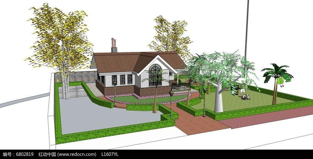 木质单层别墅绿地庭院skp素材下载
