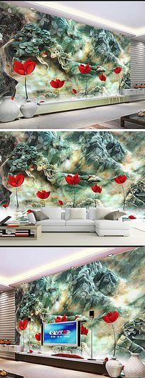 时尚小红花玉石立体背景墙