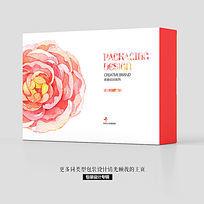 水墨花卉绽放月饼食品包装盒设计