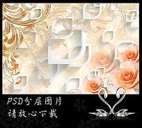 唯美复古花纹玫瑰花3D背景墙 PSD