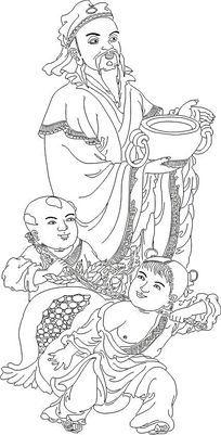禄星神话人物线稿