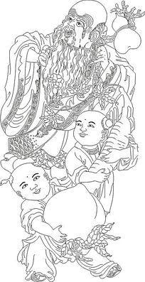 寿星神话人物线稿