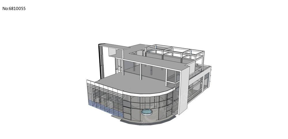 现代风别墅面别墅单体skp素材下载_建筑设计现代乡村90后玻璃图片