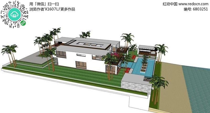现代简约水景休闲亭庭院图片