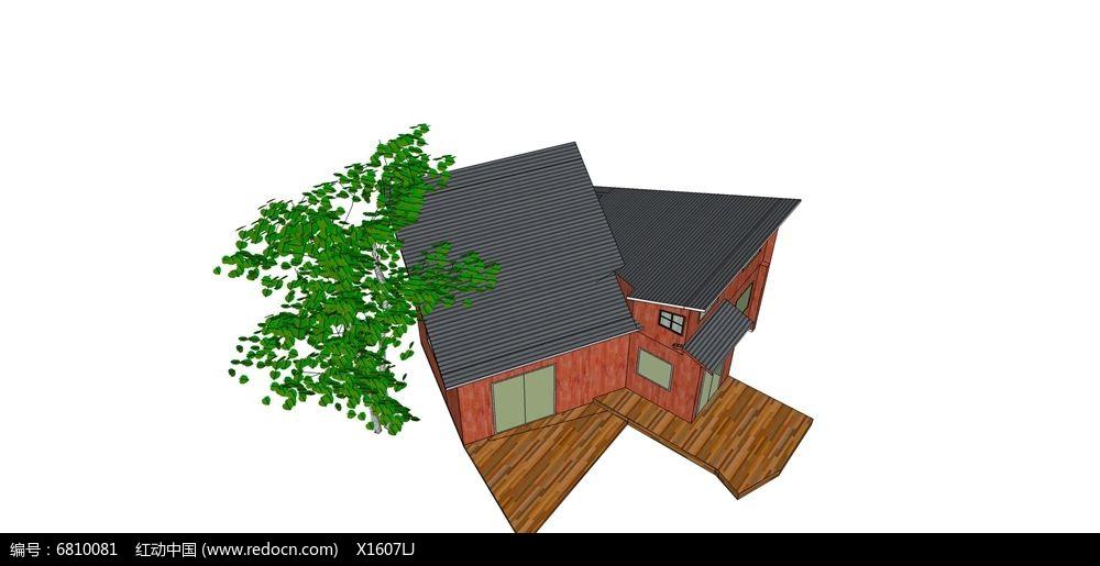斜面屋顶双栋木质别墅