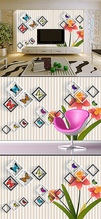 3D时尚蝶恋花卉方框背景墙装饰画