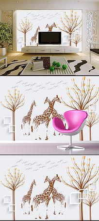 北欧抽象树手绘驯鹿电视背景装饰墙