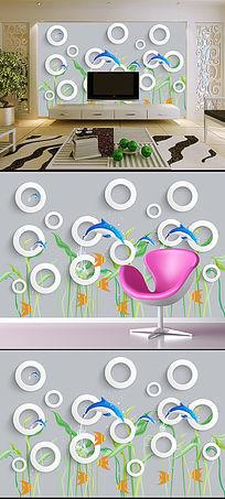 海底世界3D方框手绘电视背景墙装饰画