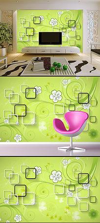 手绘绿色花卉花纹3D方框电视背景墙