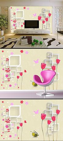 温馨浪漫的粉红色花卉3D背景墙