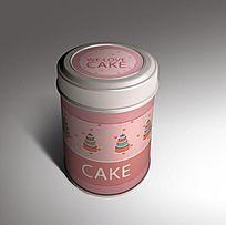 粉嫩圆筒形可爱马口铁盒