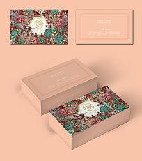 粉色鲜花店名片设计模板
